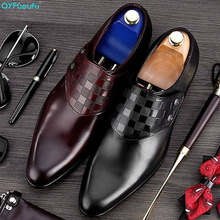 QYFCIOUFU 2019 Handmade Italy Wedding Shoes Buckle Party Office Male Dress Shoe Genuine Leather Mens Oxford Formal