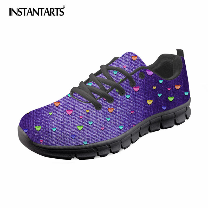 Women's Flats Friendly Instantarts Fashion Denim Design Women Flat Shoes Summer Breathable Lace Up Walking Shoes Girls Female Zapatos Mesh Sneaker Shoe Can Be Repeatedly Remolded.