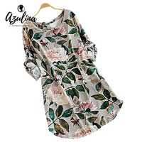 AZULINA Casual Cotton Linen Floral Print Dress Women 2017 Spring Autumn Long Sleeve Flower Mini Tunic