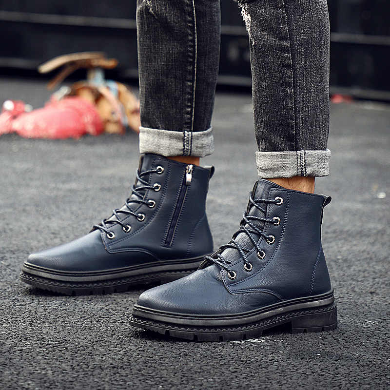 1687e0a034 2019 Men Boots Top Quality Split Leather Classic Dr Martin Boots Shoes  England Motorcycle Autumn Winter Shoes Man Snow Boot