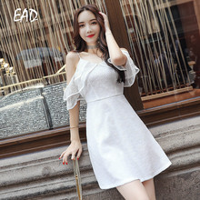 EAD Spaghetti Strap Elegant Dress Sexy Off Shoulder Women Summer Mini Dresses V Neck Bodycon Female White Lace Party Vestido