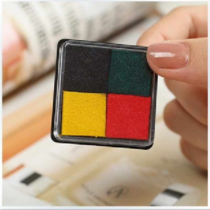 4 cores em um design preto verde vermelho amarelo cor inkpad bonito mini carimbo diy scrapbooking ferramenta
