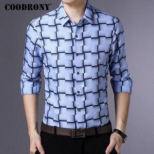 Image 3 - Coodrony 긴 소매 셔츠 남성 비즈니스 캐주얼 셔츠 남성 의류 2019 가을 신착 격자 무늬 camisa masculina 플러스 사이즈 8738