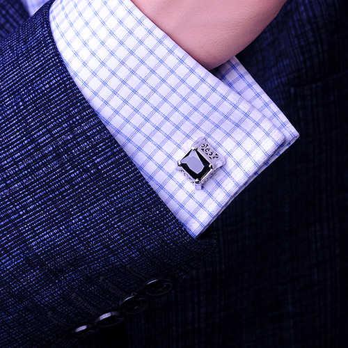 KFLK Luxury 2019 NOVA camisa abotoaduras para o presente dos homens Marca abotoaduras cuff botões Retro cuff link top Preto de Alta Qualidade jóias