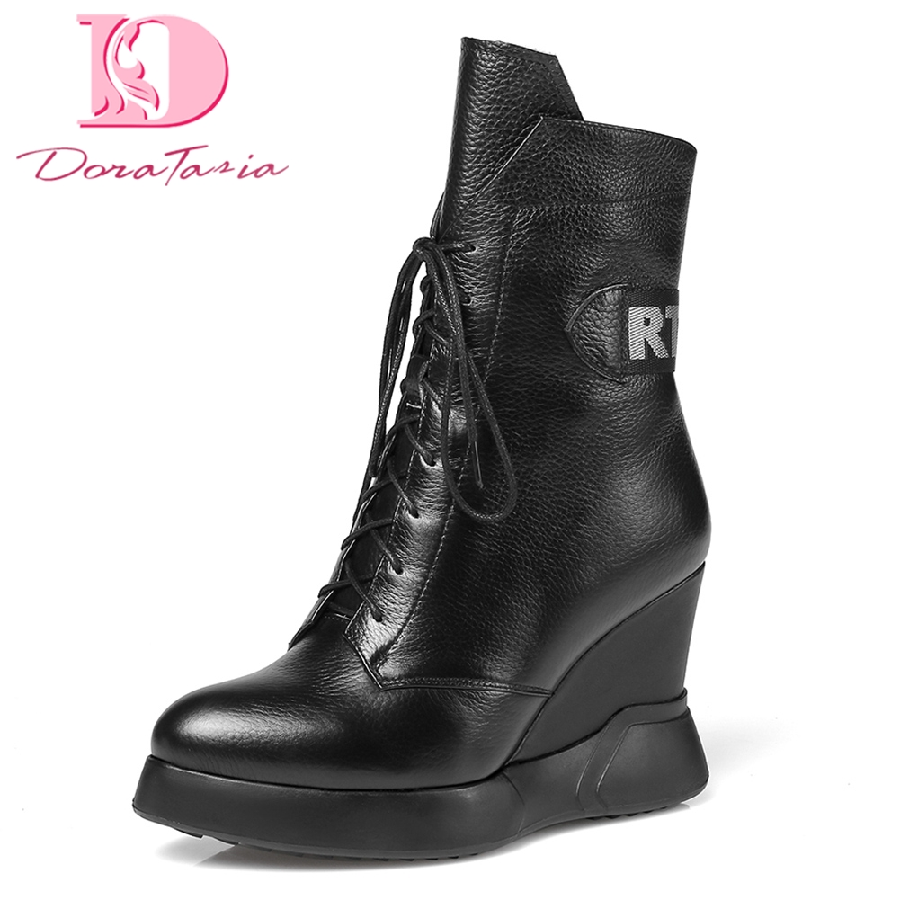 все цены на DoraTasia Brand new Cow Leather Large Size 34-42 Hot Sale Ankle Boots Woman Shoes Zip Up Wedge high Heels Shoes Woman Boots