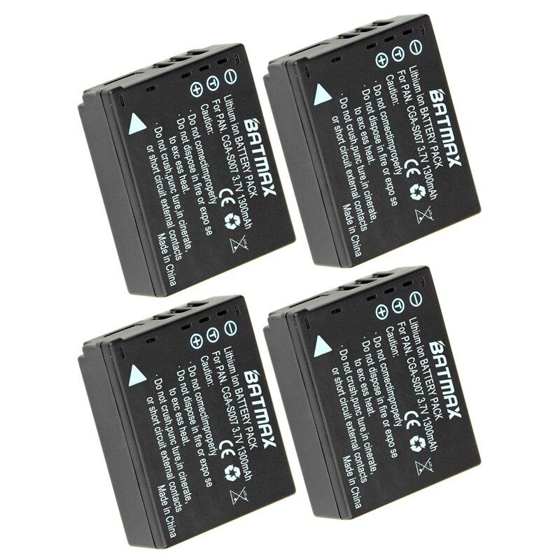 4Pcs1300mAh CGA-S007 CGA CGR S007E S007 S007A BCD10 Batteries for Panasonic DMC TZ1 TZ2 TZ3 TZ4 TZ5 TZ50 TZ15 Camera Batteries