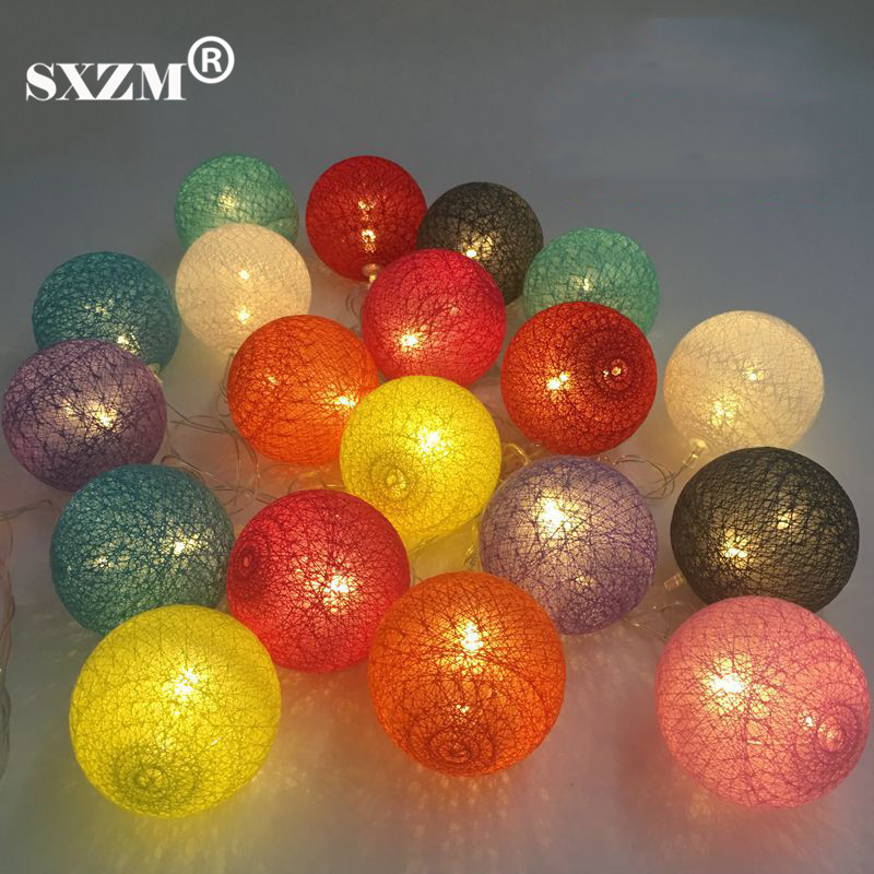 Cotton Ball Led string light 3.3M(20Leds) or 4.8M(30Leds) AA Battery Powered indoor decoration Romantic Fairy lighting