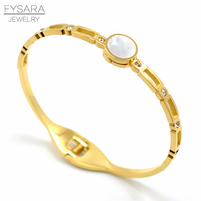 92d211c2cd1 FYSARA Shell Round Circle Zirconia Bracelets & Bangles for Women Jewelry  Stainless Steel Gold Color Hollow Crystal Cuff Bracelet