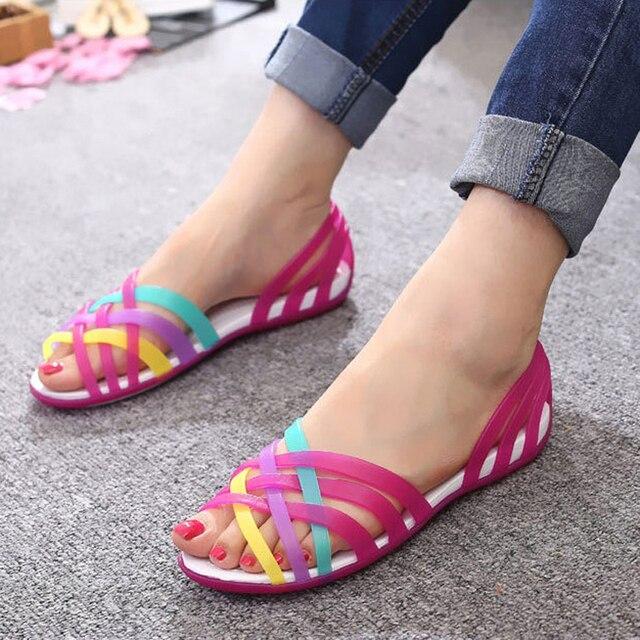 2019 נשים סנדלי נעלי ריבת קיץ רדוד מתוק חוף סנדלי נשים צבעים בוהקים קיץ סנדלי