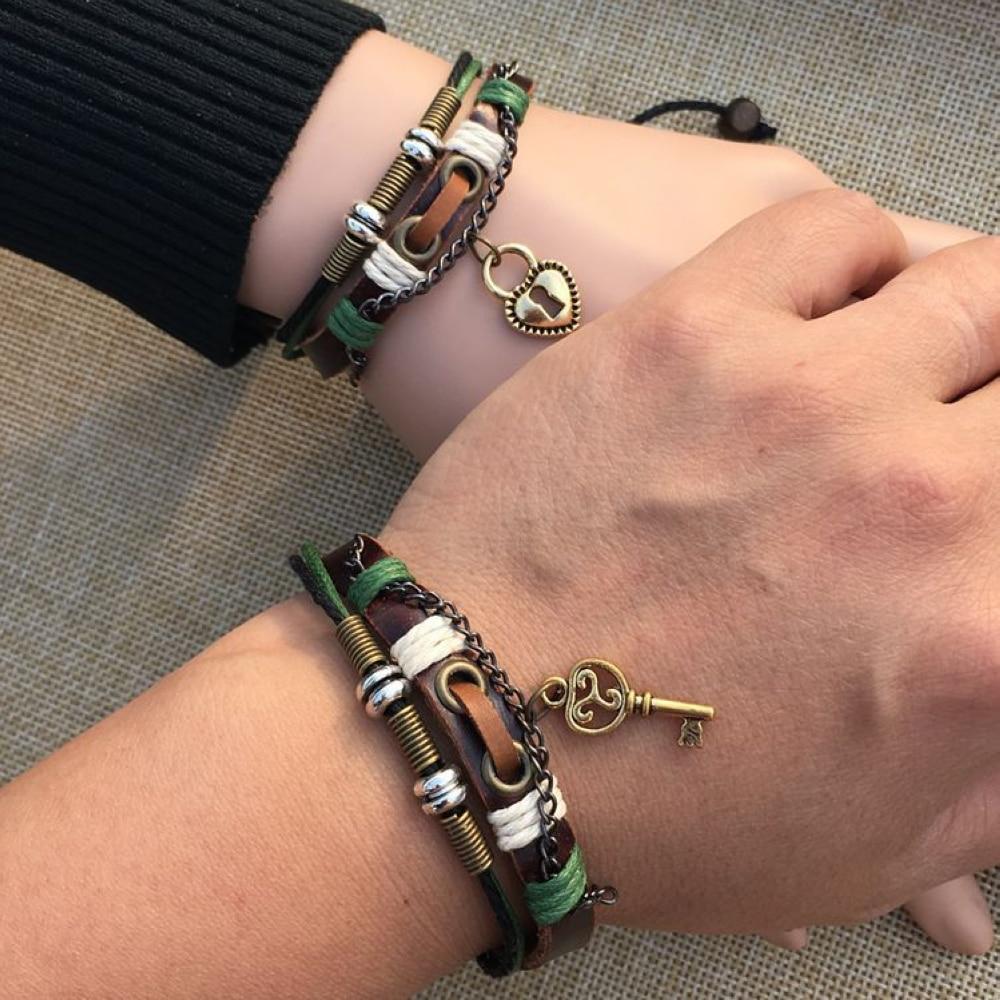 BRT0017 vente en gros 12 paire/pack amoureux ethniques Couples serrure à clé paire de Bracelets en cuir mâle femelle tissé Bracelet Bracelet bijoux