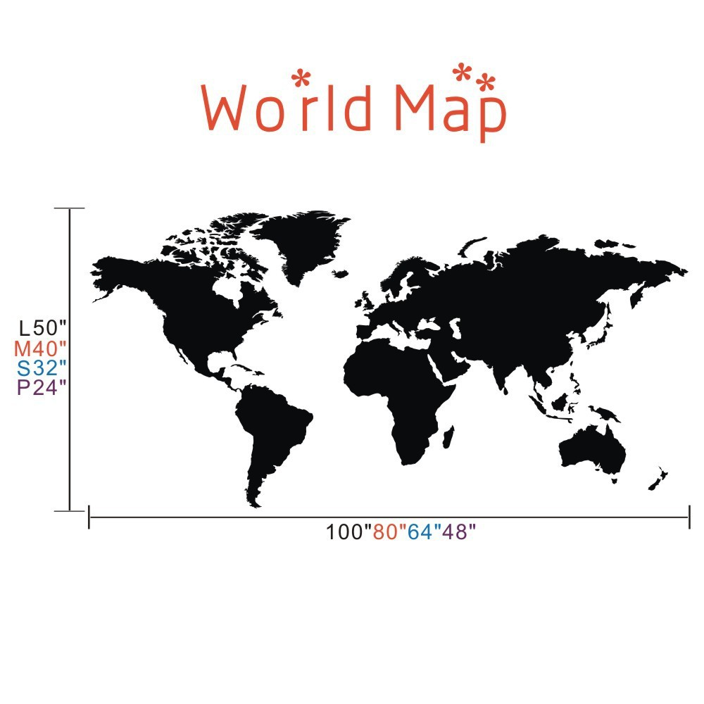 Delightful World Map Wall Decal The Whole World Atlas Vinyl Wall Art Sticker Home  Office Decor 64 Part 31