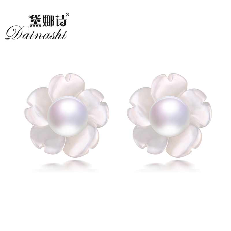 Women Earrings Flower 925-Sterling-Silver Natural-Freshwater-Pearl with 4-5mm High-Luster