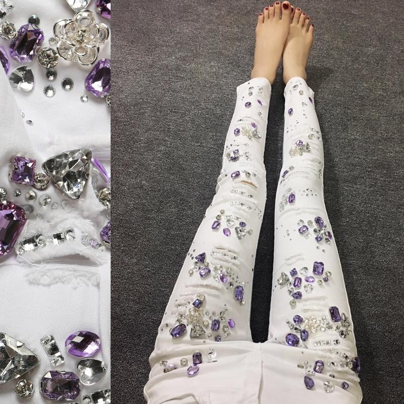 2018 autumn Cotton Women Rhinestones Diamond Denim   Jeans   Slim Stretch Pencil skinny   Jeans   White Ripped   jeans   plus size 25-31