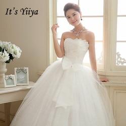 Het Yiiya Trouwjurk Pailletten Floor Lengte Trouwjurken Strapless Mouwloze Boog Lace Up Princess Bridal Baljurk HS106