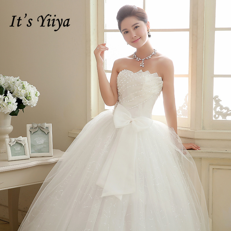 It's YiiYa Wedding Dress Sequins Floor Length Wedding Dresses Strapless Sleeveless Bow Lace Up Princess Bridal Ball Gown HS106