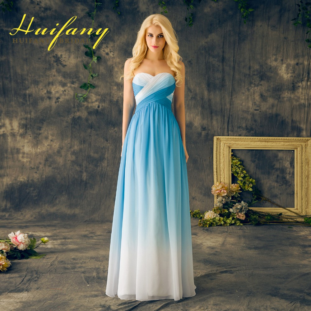 Gradient Prom Dresses Sweetheart Chiffon Ruched Long Omre Evening ...