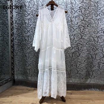 White Long Dress 2020 Spring Summer High Quality Brand Women Sexy V-Neck Exquisite Embroidery Long Sleeve Maxi Dress Plus Size фото