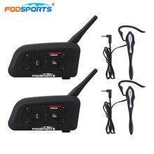 2 Pcs Fodsports V6 Pro Moto Interfono Bluetooth Casco Auricolare Arbitro Auricolare Interphone Allenatore di Calcio citofono del Casco