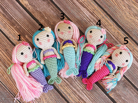Crocheted Mermaid Doll Crochet Dolls Rattle Mermaid Dolls Baby Rattles