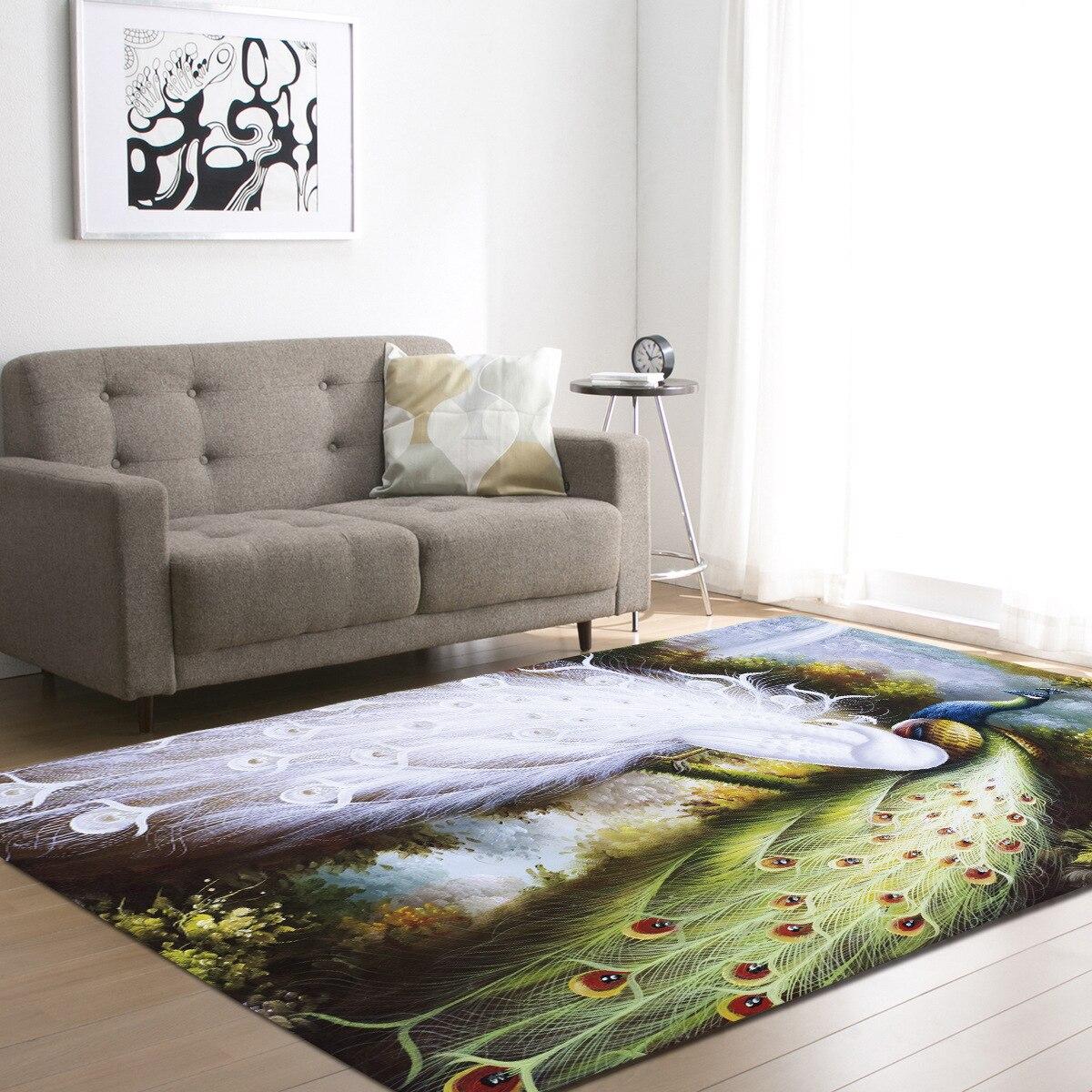 8 styles demissir 3d peacock print living room carpet kids bedroom rug alfombra tapete para sala. Black Bedroom Furniture Sets. Home Design Ideas