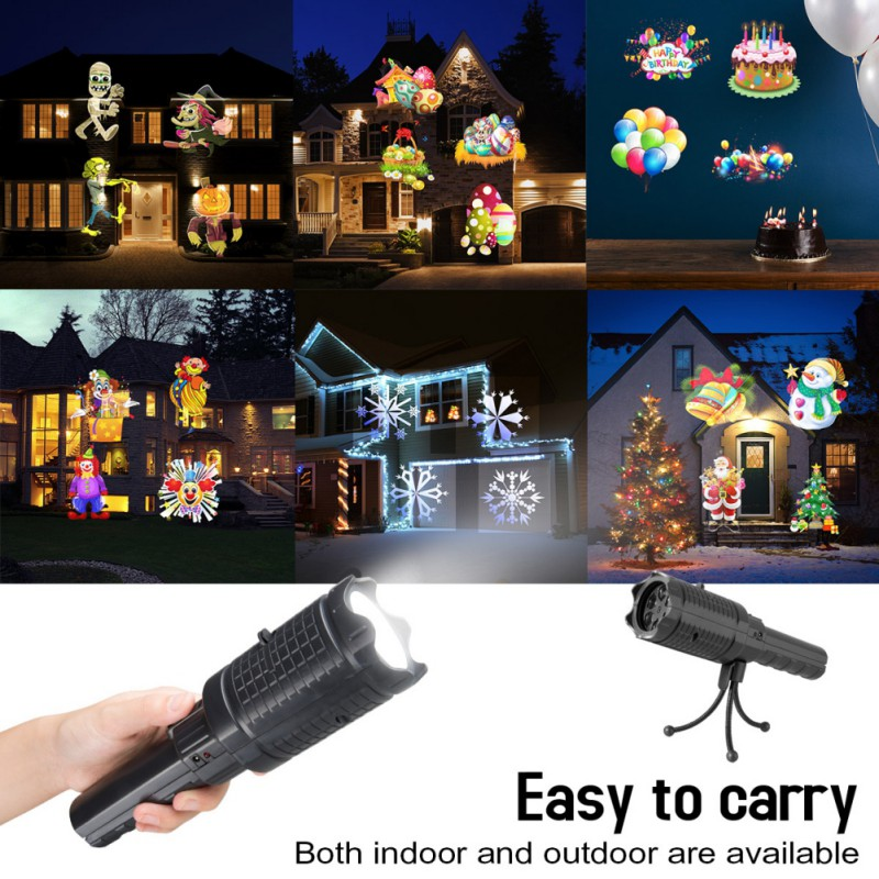 Handheld Projector Lights 12 Slides Projection Holiday Lights Handheld Flashlight For Christmas Party Decoration