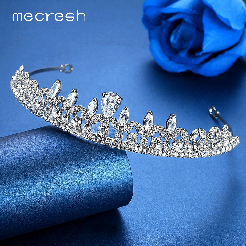 Mecresh Gorgeous Cubic Zirconia Crown and Tiara For Women Silver Color Crystal Plant Bridal Wedding Hair Accessories Gift MHG078