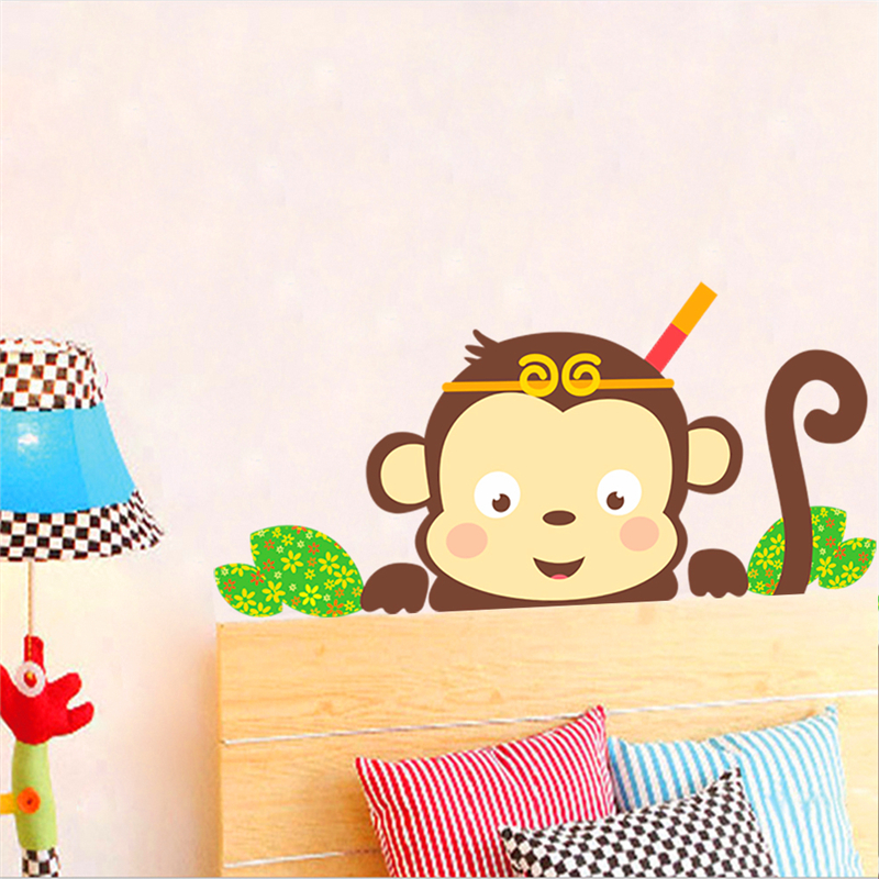 lovely monkeys wall stickers for kids room refrigerator laptop decor ...