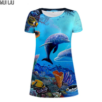 Customized Women Dress Sea World Dolphin Casual Dresses for Woman Summer Beach Ladies Vestido Mujer Woman's Sexy Dress Female