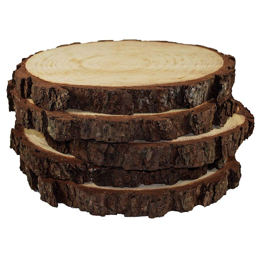 5 pièces inachevé naturel rond bois tranches cercles avec arbre écorce disques de bûches pour bricolage artisanat mariage fête peinture décoration # BF