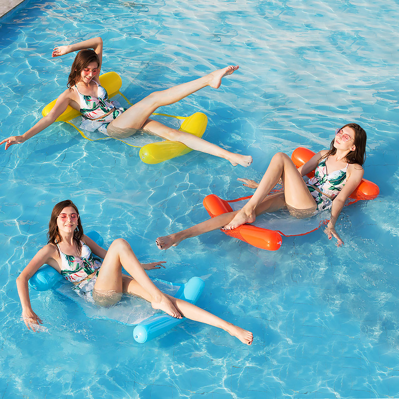 Folding Lounge Chair Floating Inflatable Water Swimming Toy For Adult Pool Rafts Swimming Inflatable Toys Gift