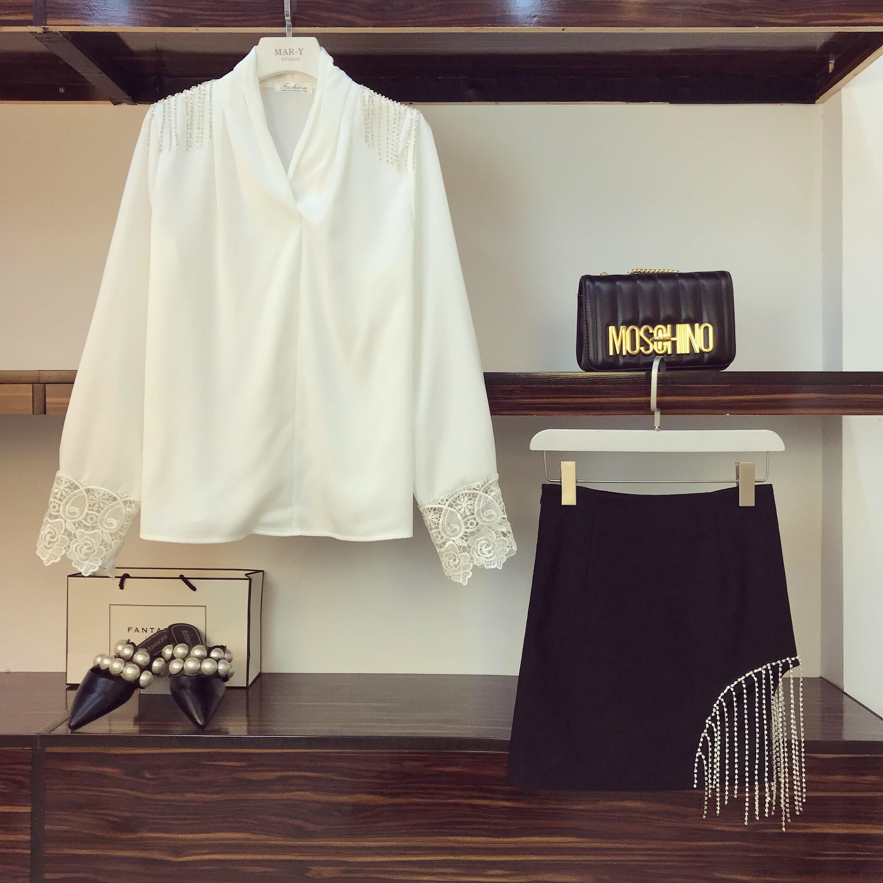White Longues À Jupes Printemps Cou Femmes Diamant Mode Irrégulière V Patchwork Costumes De Hauts Courtes Gland Manches Ensembles Dentelle Nouveau Femme PRqzw