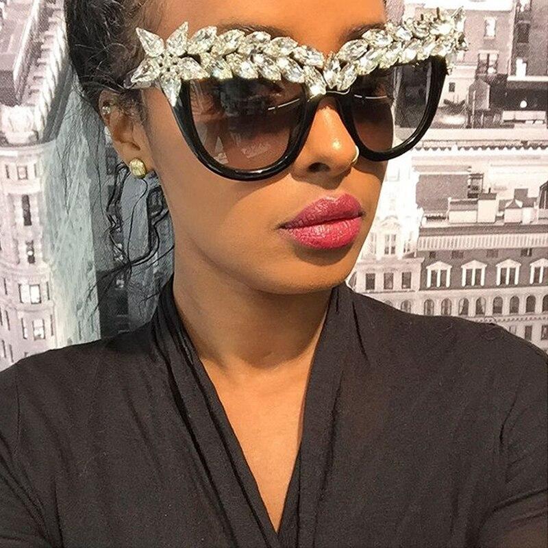 ROYAL GIRL Sieviešu kaķu acu saulesbrilles Vintage zīmola dizainera kristāla dimanta lielgabarīta rāmja brilles SS118
