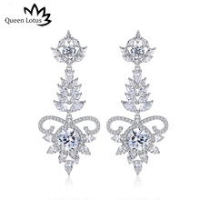 Queen Lotus High Quality Hollow Baroque Drop Earrings for Women Vintage  Crystal Leaf Earrings Jewelry Retro eed5da175c49