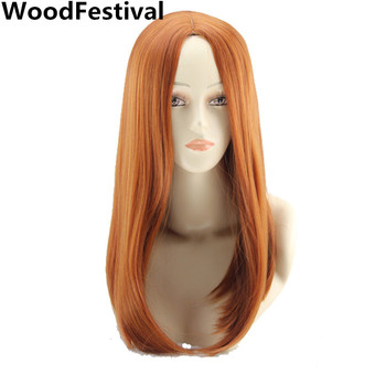 WoodFestival 18 inch Orange Synthetic Wig Heat Resistant Female Womens Cosplay Wigs for Women Straight Hair Medium Length