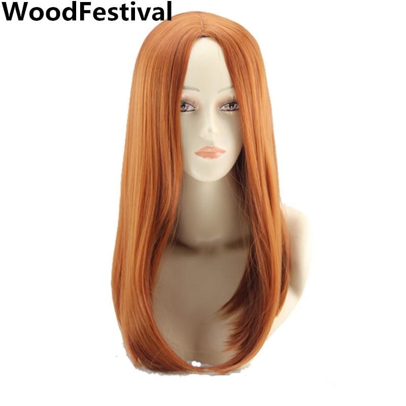 orange kostym peruk cosplay rakt hår värmebeständigt bob syntetiska peruker för kvinnor WoodFestival