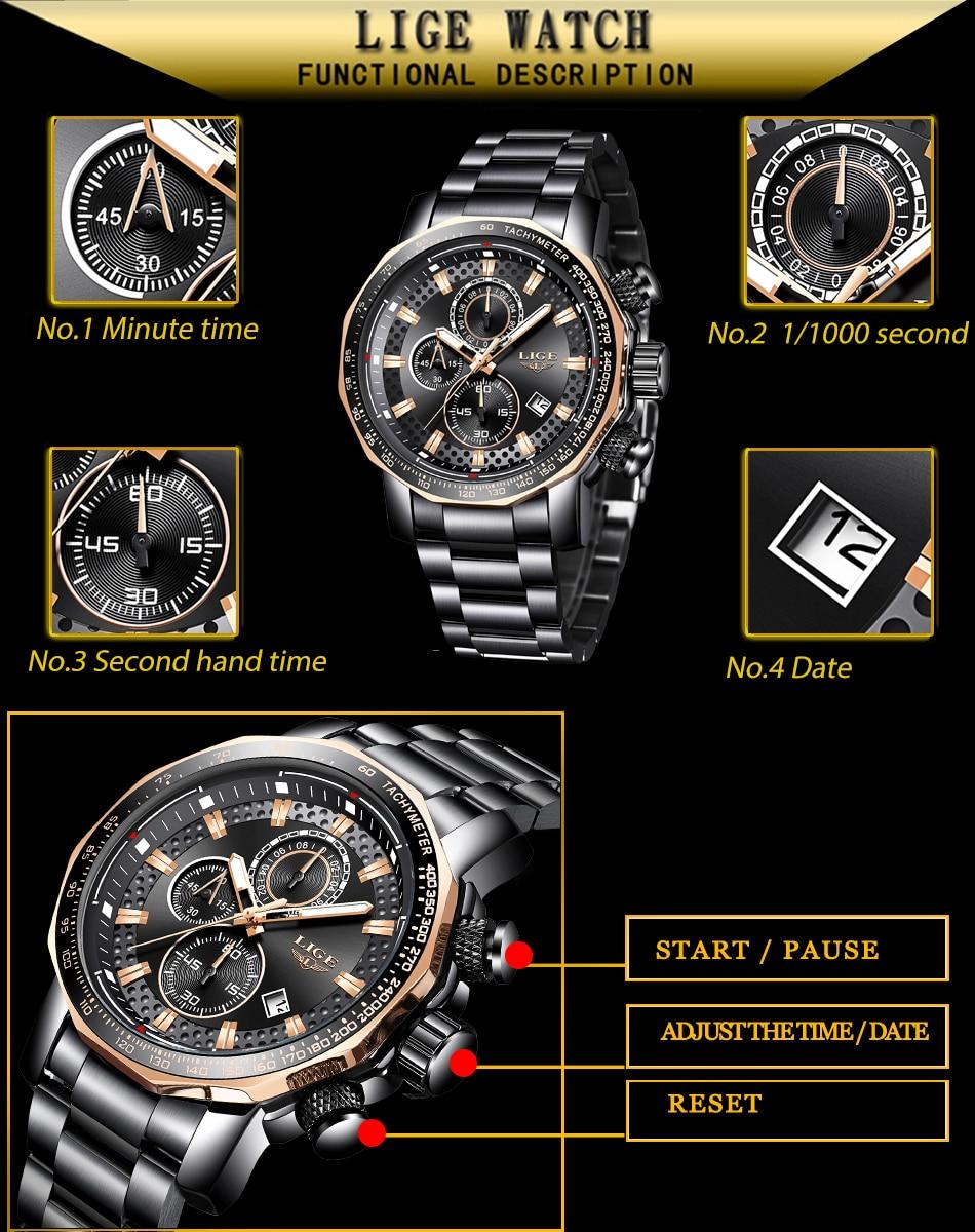 HTB1JVYZbfvsK1Rjy0Fiq6zwtXXaG Relogio Masculino LIGE New Sport Chronograph Mens Watches Top Brand Luxury Full Steel Quartz Clock Waterproof Big Dial Watch Men