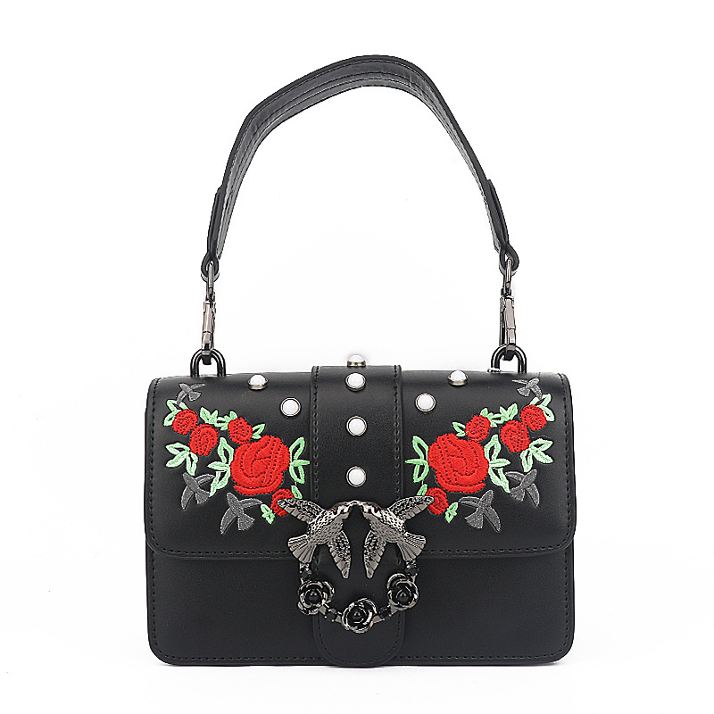 Fashion Embroidered Swallow Genuine Leather women messenger bags Floral Embroidery Rivets Crossbody bags for women bag simple women s dolman sleeves floral embroidered dress