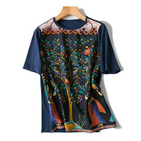 cotton silk spliced knit women fashion tees vintage floral printed t shirt Oneck short sleeve dark blue patchwork color S/L