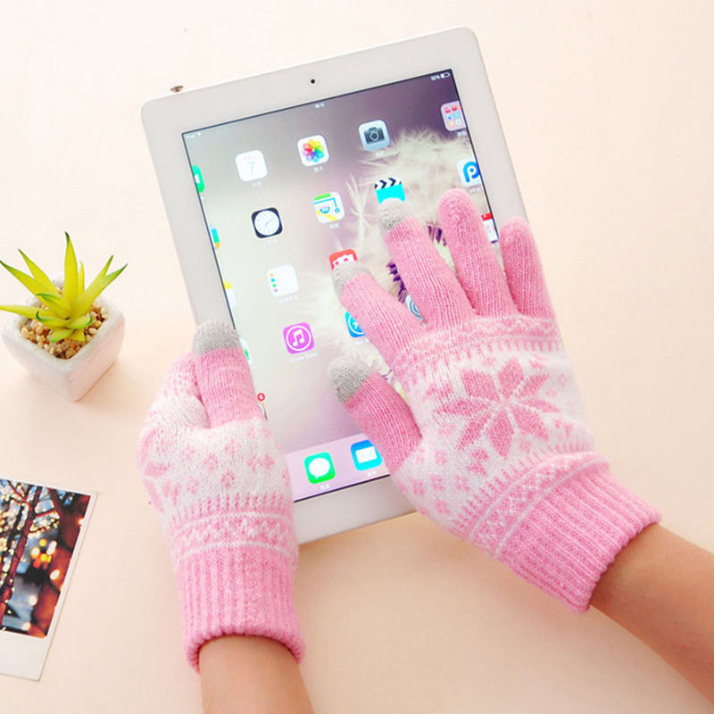 2018 Cute Christmas Warm Winter Gloves Snowflake Printed Knitted Touch Gloves Men Women Gloves Touch Screen Glove Party Supplies