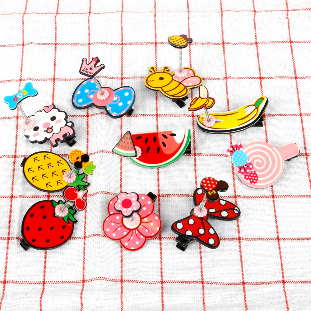1Pcs Korean Fashion Cute Fruit Animal Metal Spring Colorful Children Hair Clips Hair Design Accessories Hair Styling Tool