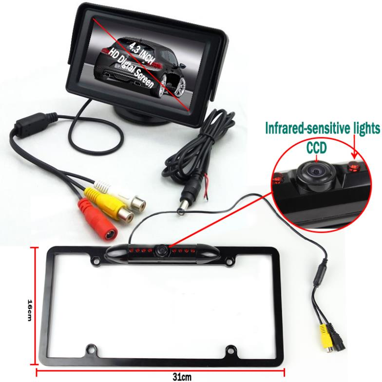 Black License Plate  Holder Car Stlying Parking  System with CCD Rear View Camera 4.3'' Monitor for Opel Garage Parking Aid