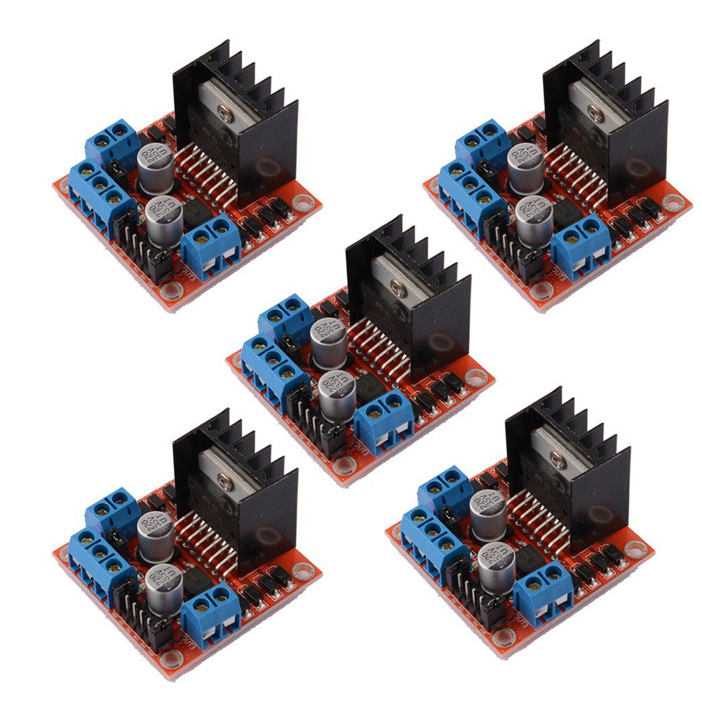 5 PCS L298N Motor Drive Controller Board DC Dual H-Bridge Robot Stepper Motor Control and Drives Module for Arduino Smart Car 6ch servo control board with l298n motor driver module ps2 wireless control handle for rc smart tracked robot car diy platform