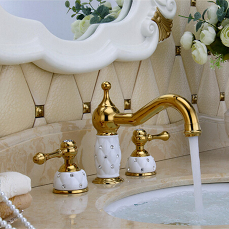 Solid Brass Antique Brownze Finished  Gold And White Finished Widespread Bathroom Sink Faucet Basin Faucet pastoralism and agriculture pennar basin india