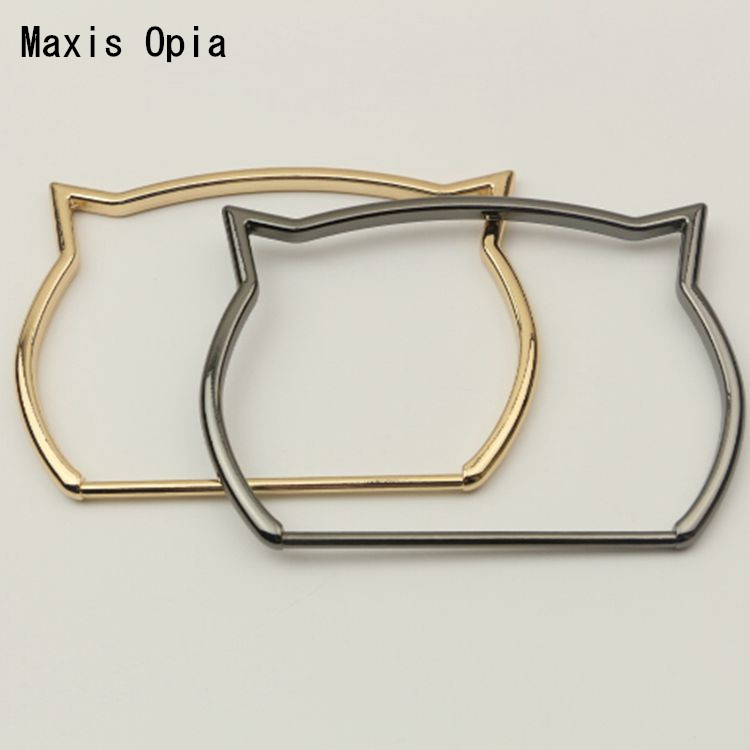 (5 pieces/lot) Light Gold Gunmetal Metal Handle Bag Accessories Luggage Hardware Sexy Cat Metal Purse obag Handle Frame Handles