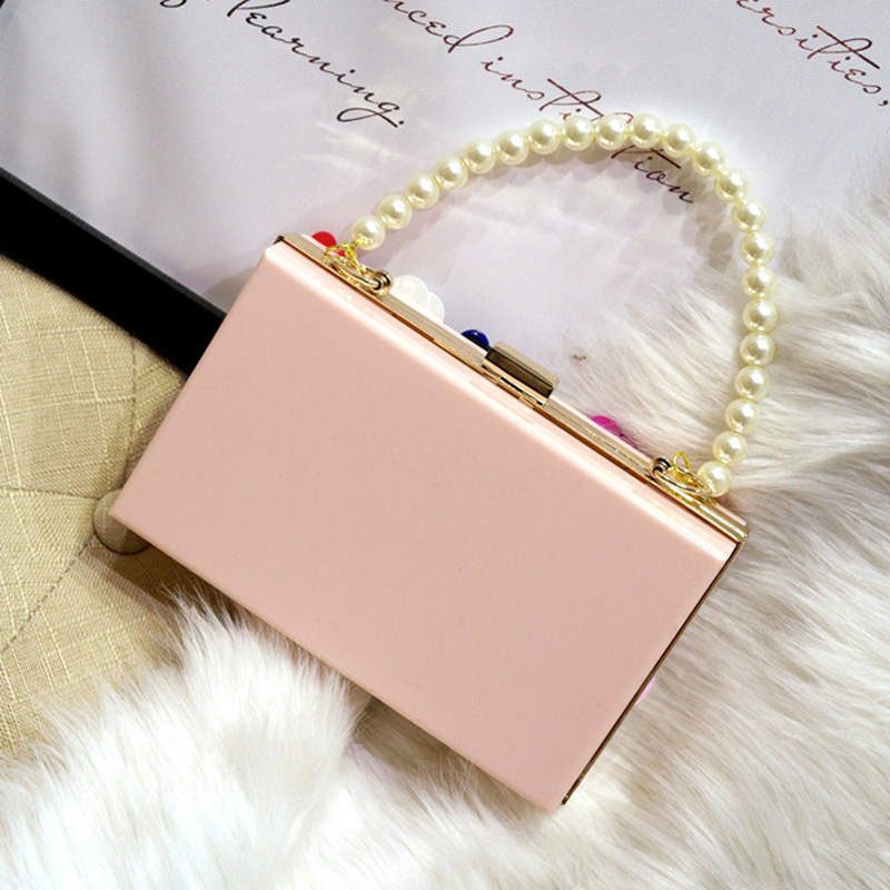2017 Fashion Pearl Chain Women Handbags Crossbody Bags Colorful Flowers Party Ladies Evening Clutch Totes Bags with Luxury Pearl