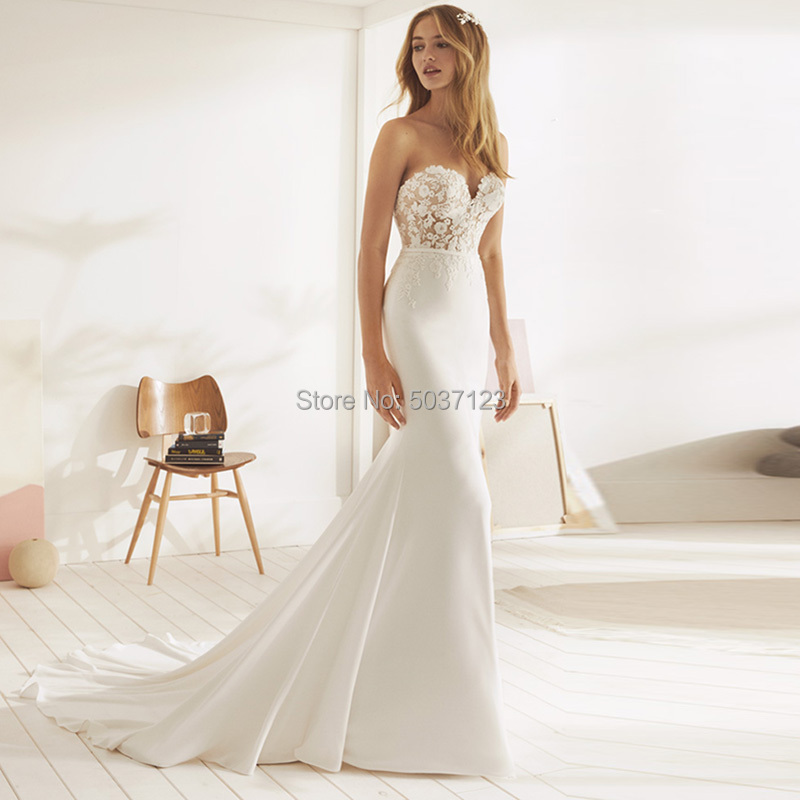 Beach Mermaid Wedding Dresses 2019 Sweetheart Appliques Lace Button Backless Wedding Bridal Gown Vestido De Noiva Plus Size-in Wedding Dresses from Weddings & Events