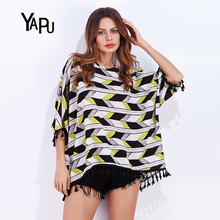 Europe and the United States new round neck collar splicing fringed edge bat sleeves loose font