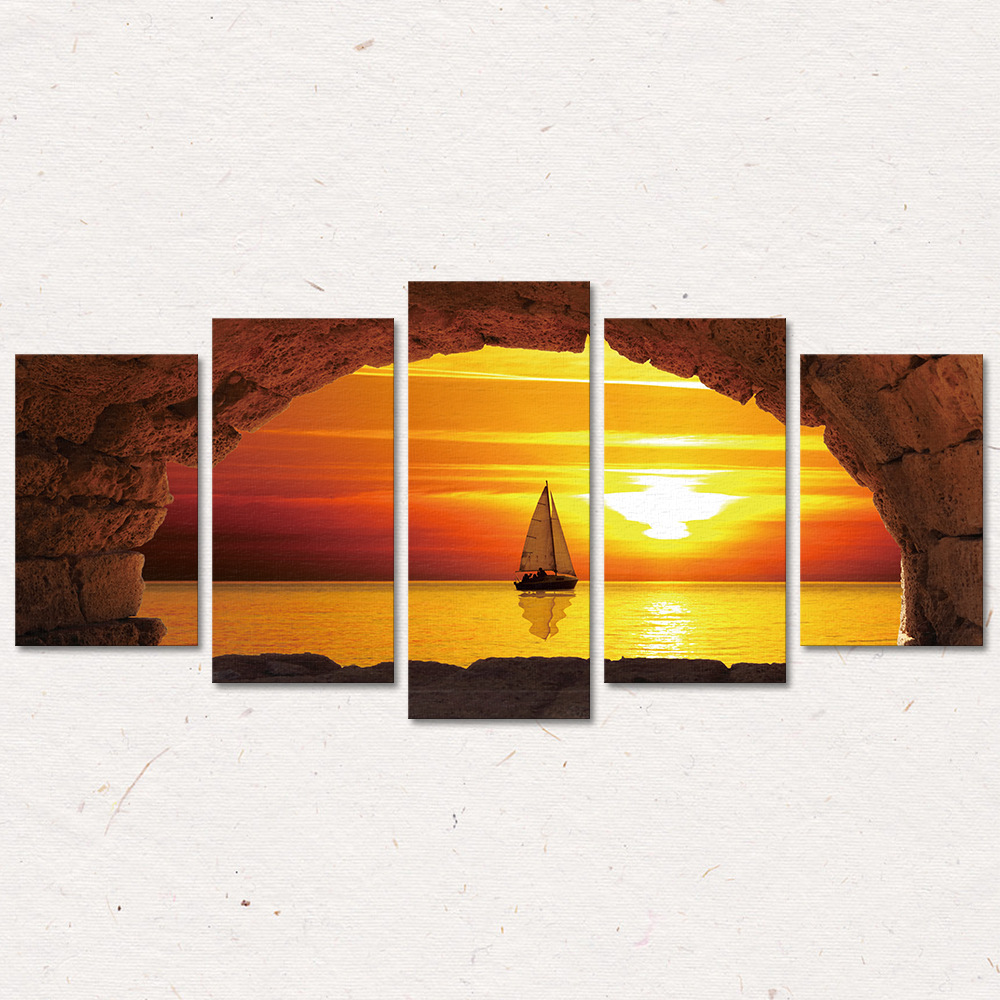 3D Seaside Sailing Yacht Painting Bedroom Living Room Background Sofa Wall Modern Home Decoration Frameless Five Pictures Inkjet