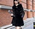 Envío libre!!! el nuevo 2016 venta caliente ropa de invierno abrigos con capucha de pelo de conejo de piel de cuero largo femenino abrigo de piel