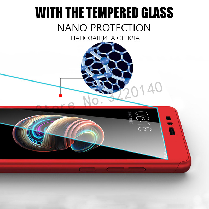 360 Degree Full Cover Cases For Xiaomi MI A1 mi 5x case Phone shell For Xiaomi redmi Note 4 4X case For redmi 4A 4X With Glass3